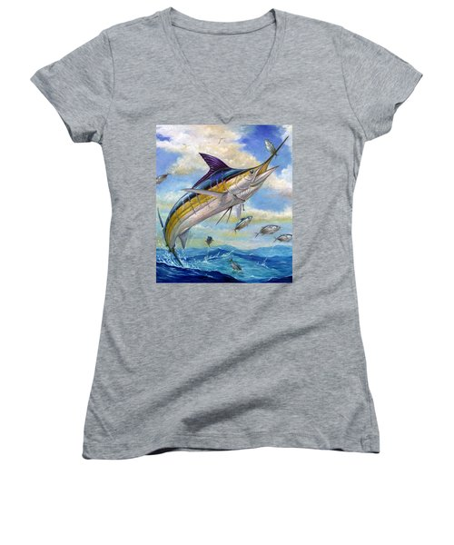 The Blue Marlin Leaping To Eat Women's V-Neck