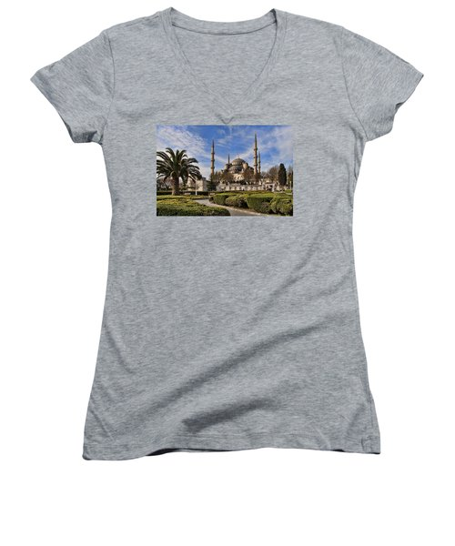 The Blue Mosque In Istanbul Turkey Women's V-Neck T-Shirt