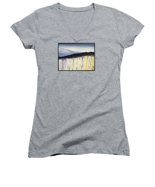 The Bluff And The Mountains Women's V-Neck T-Shirt (Junior Cut) by Carolyn Doe