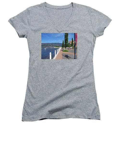 Women's V-Neck T-Shirt (Junior Cut) featuring the painting The Boardwalk In Kelowna   by Rod Jellison