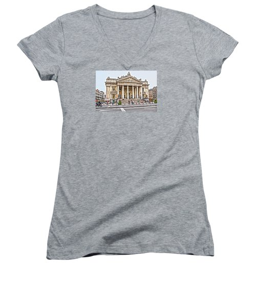 Women's V-Neck T-Shirt (Junior Cut) featuring the photograph The Bourse In Brussels by Pravine Chester