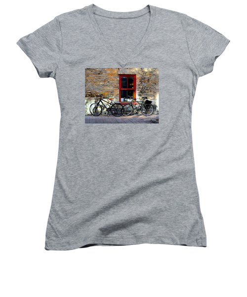 Women's V-Neck T-Shirt (Junior Cut) featuring the photograph The Break by Elfriede Fulda