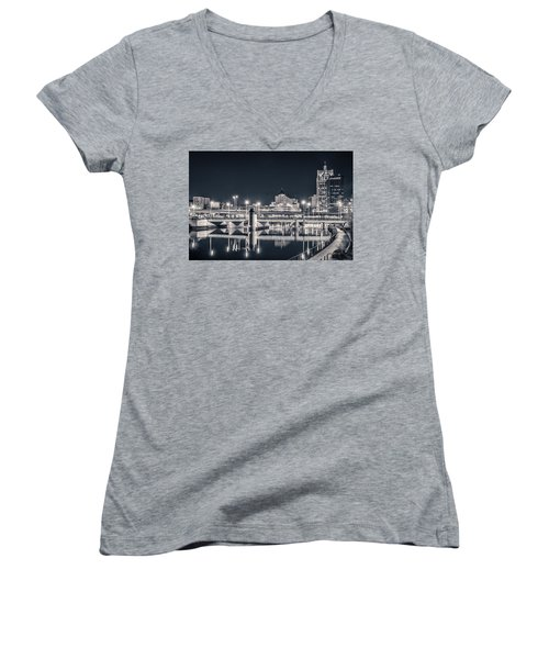 Women's V-Neck T-Shirt (Junior Cut) featuring the photograph The Bright Dark Of Night by Bill Pevlor