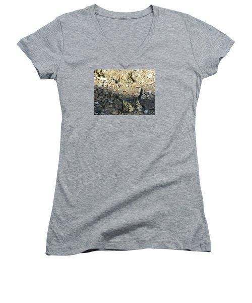 The Butterfly Dance Women's V-Neck T-Shirt (Junior Cut) by Charlotte Gray
