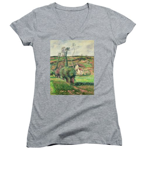 The Cabbage Slopes Women's V-Neck T-Shirt (Junior Cut) by Camille Pissarro