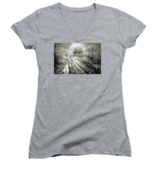 Women's V-Neck T-Shirt (Junior Cut) featuring the photograph The Calm In Shadows And Light by Tara Turner