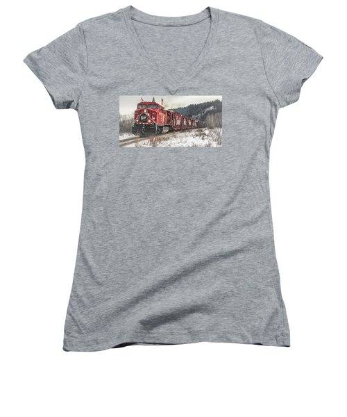The Canadian Pacific Holiday Train Women's V-Neck T-Shirt