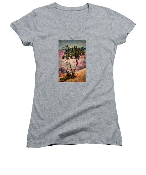 Women's V-Neck T-Shirt (Junior Cut) featuring the photograph The Canyon Tree by Tom Prendergast