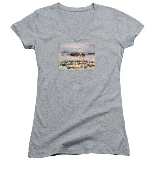 The Capital Wheel At National Harbor Women's V-Neck (Athletic Fit)