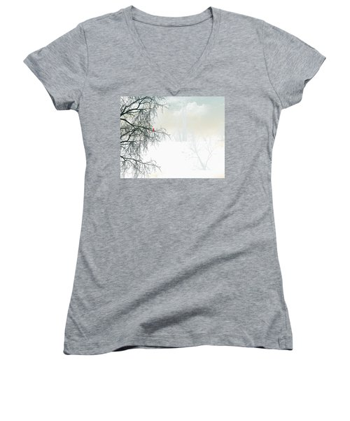 Women's V-Neck T-Shirt (Junior Cut) featuring the digital art The Cardinal by Trilby Cole