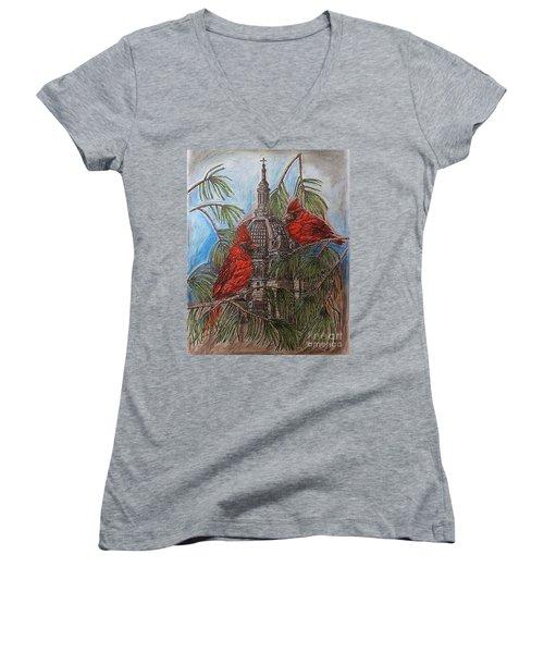The Cardinals Visit St.pauls Cathedral Women's V-Neck T-Shirt (Junior Cut) by Kim Jones