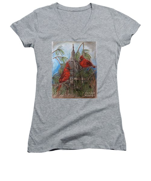 The Cardinals Visit St.pauls Cathedral Women's V-Neck (Athletic Fit)
