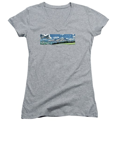 The Cascade Mountains And Mt. Rainier Women's V-Neck T-Shirt