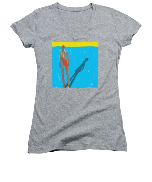 Women's V-Neck T-Shirt (Junior Cut) featuring the painting The Cast Shadow by Jim Vance