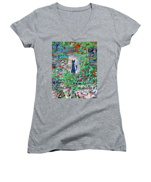 Women's V-Neck T-Shirt (Junior Cut) featuring the painting The Cat In The Garden by Fabrizio Cassetta