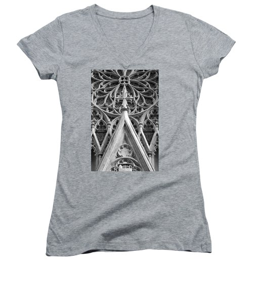 Women's V-Neck T-Shirt (Junior Cut) featuring the photograph The Cathedral Of St. Patrick Close Up by Michael Dorn