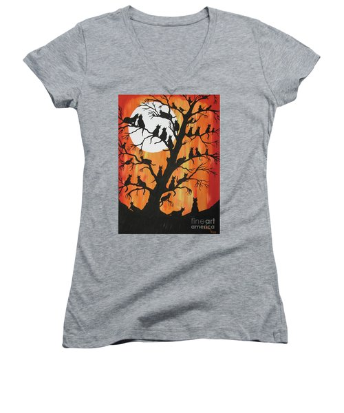 The Cats On Night Watch Women's V-Neck T-Shirt (Junior Cut) by Jeffrey Koss