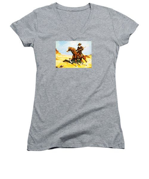 Women's V-Neck T-Shirt (Junior Cut) featuring the painting The Cavalry Scout by Al Brown