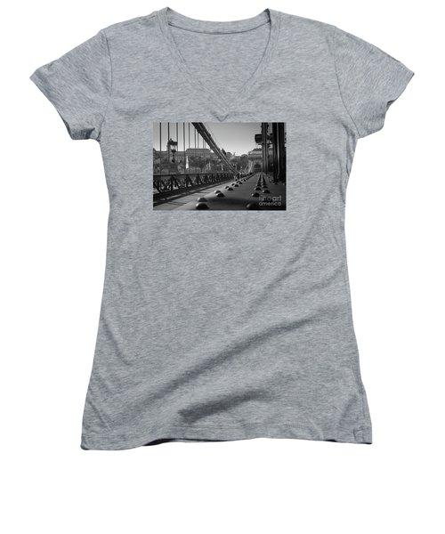 The Chain Bridge, Danube Budapest Women's V-Neck (Athletic Fit)
