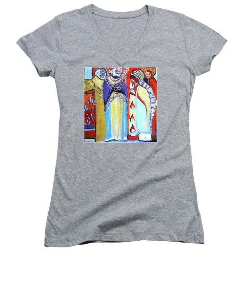 Women's V-Neck T-Shirt (Junior Cut) featuring the painting The Chains That Bind Us To Christ by Mindy Newman