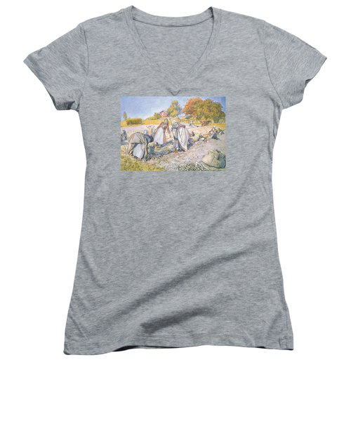 The Children Filled The Buckets And Baskets With Potatoes Women's V-Neck T-Shirt (Junior Cut) by Carl Larsson