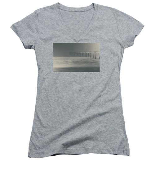 Women's V-Neck T-Shirt (Junior Cut) featuring the photograph The Chill In My Bones by Laurie Search