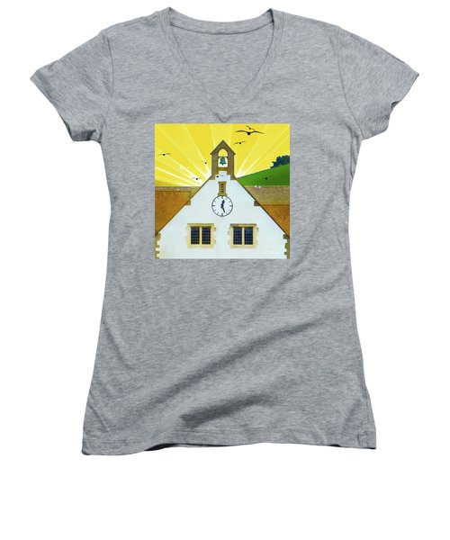 Women's V-Neck T-Shirt featuring the photograph The Church Bell by LemonArt Photography
