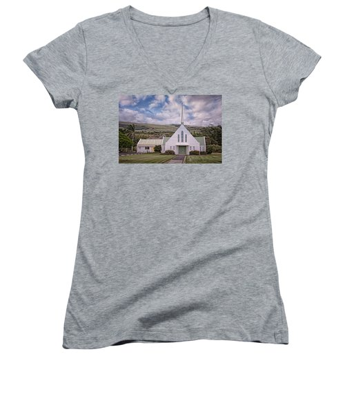 Women's V-Neck featuring the photograph The Church by Jim Thompson