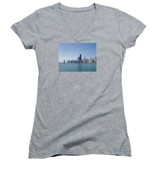 The City Of Chicago Across The Lake Women's V-Neck T-Shirt (Junior Cut) by Skyler Tipton