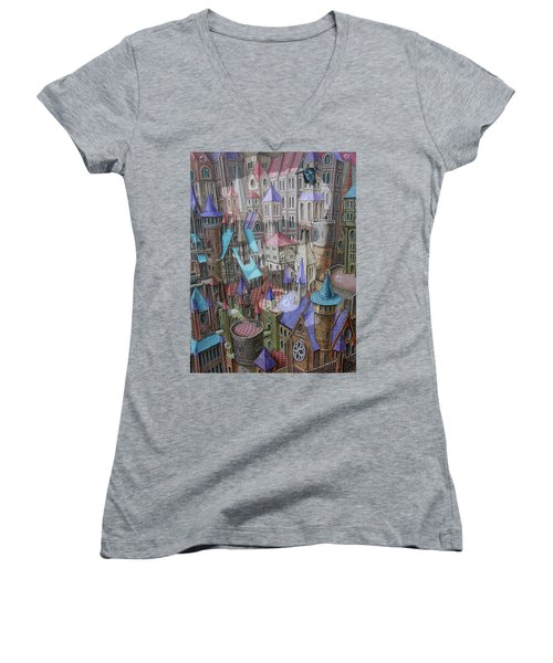 The City Of Crow Women's V-Neck (Athletic Fit)