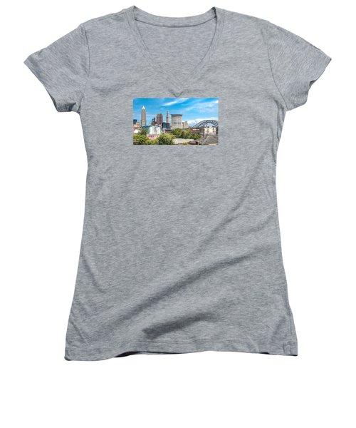 Women's V-Neck T-Shirt (Junior Cut) featuring the photograph The Cleveland Skyline by Brent Durken