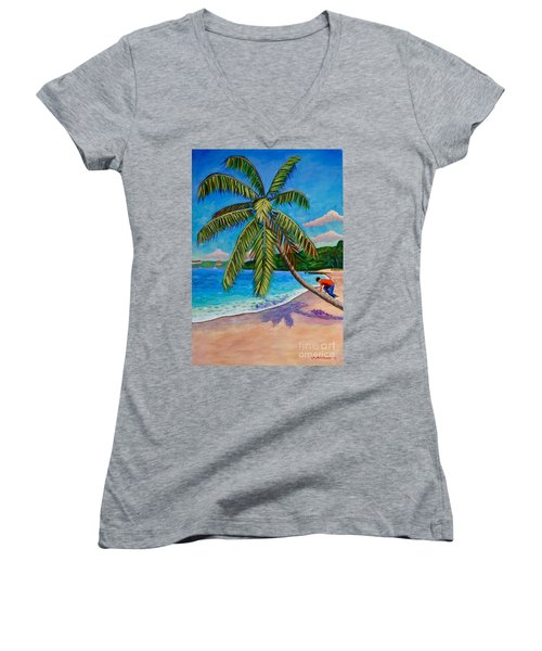 The Climb Women's V-Neck T-Shirt (Junior Cut) by Laura Forde
