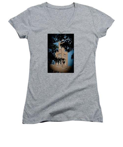 Women's V-Neck T-Shirt (Junior Cut) featuring the photograph The Clock Tower by Mark Dodd