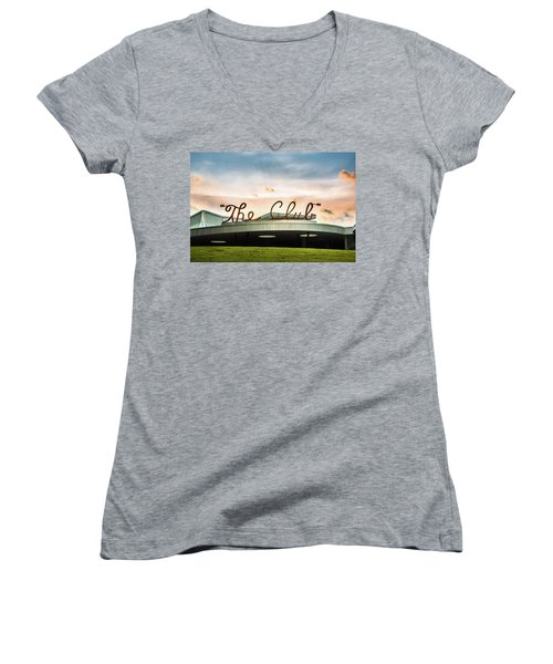 Women's V-Neck T-Shirt (Junior Cut) featuring the photograph The Club Birmingham by Parker Cunningham