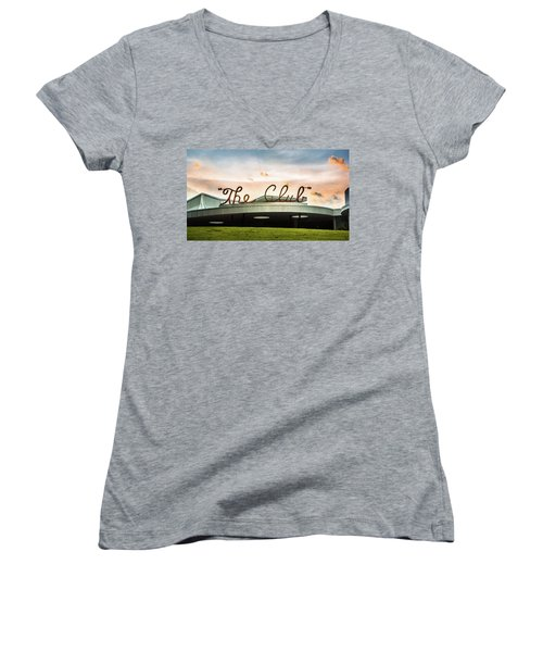 Women's V-Neck T-Shirt (Junior Cut) featuring the photograph The Club Panorama by Parker Cunningham