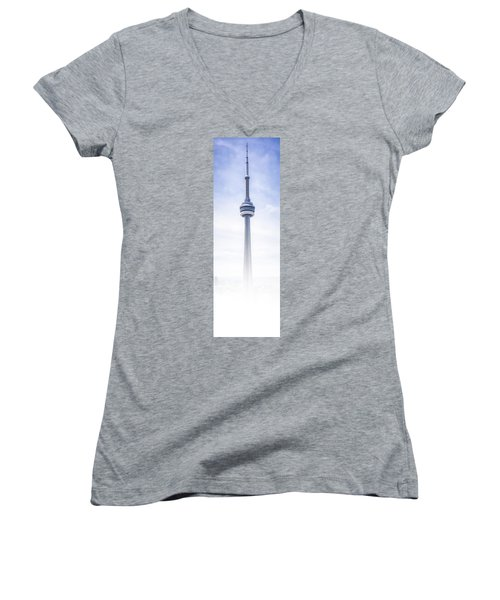 The Cn Tower Women's V-Neck T-Shirt (Junior Cut) by Anthony Rego