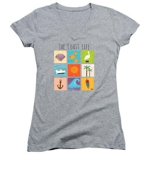 The Coast Life Women's V-Neck T-Shirt (Junior Cut) by Kevin Putman