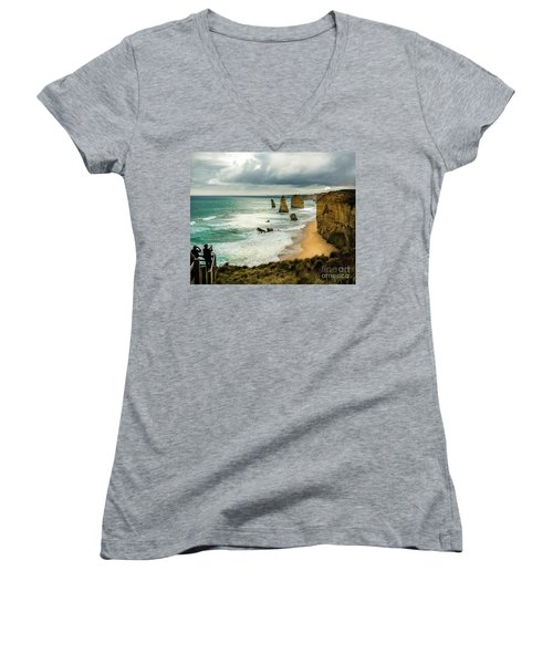 Women's V-Neck T-Shirt (Junior Cut) featuring the photograph The Coast by Perry Webster