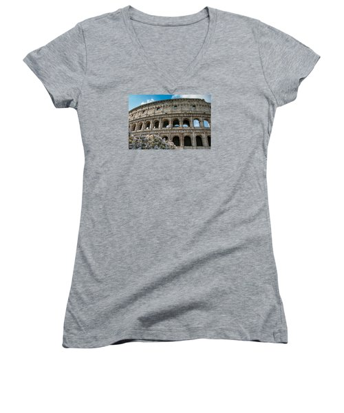 Women's V-Neck T-Shirt (Junior Cut) featuring the photograph The Coliseum In Rome by Kathleen Scanlan