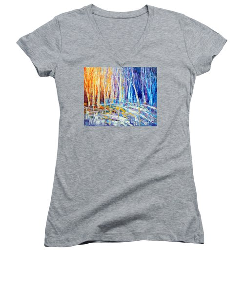 The Color Of Snow Women's V-Neck T-Shirt (Junior Cut) by Tatiana Iliina