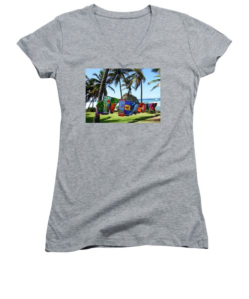 Women's V-Neck T-Shirt (Junior Cut) featuring the photograph The Colors Of Barbados by Kurt Van Wagner
