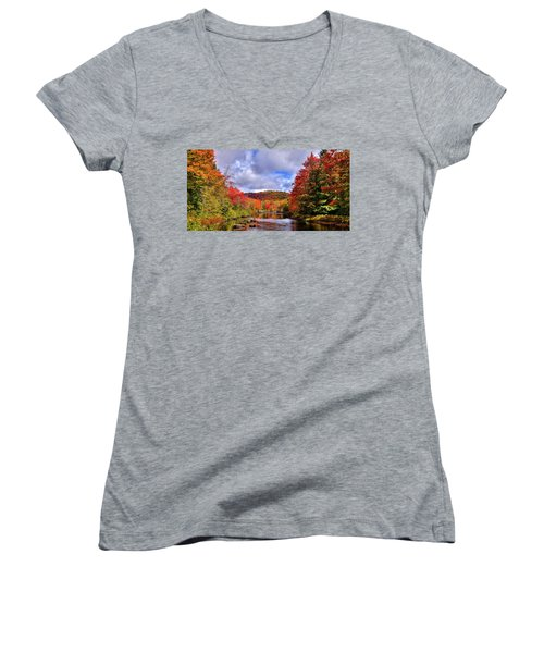 Women's V-Neck T-Shirt featuring the photograph The Colors Of Fall On The Moose River by David Patterson