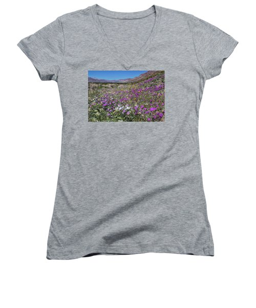 Women's V-Neck T-Shirt (Junior Cut) featuring the photograph The Colors Of Spring Super Bloom 2017 by Peter Tellone
