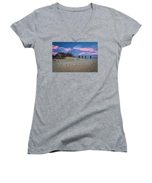 The Colors Of Sunset Women's V-Neck T-Shirt (Junior Cut)