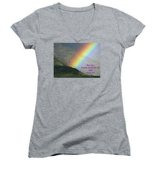 Women's V-Neck T-Shirt (Junior Cut) featuring the photograph The Colors Of The Rainbow Carry On by DeeLon Merritt