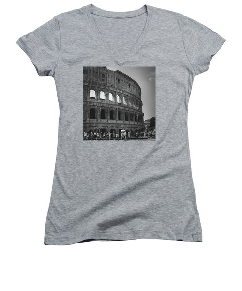 The Colosseum, Rome Italy Women's V-Neck (Athletic Fit)