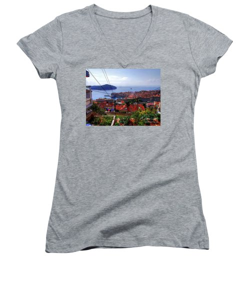 The Colourful City Of Dubrovnik Women's V-Neck