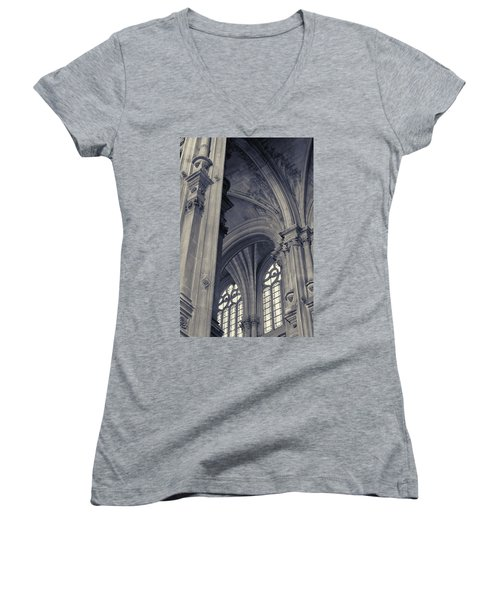 The Columns Of Saint-eustache, Paris, France. Women's V-Neck T-Shirt (Junior Cut) by Richard Goodrich