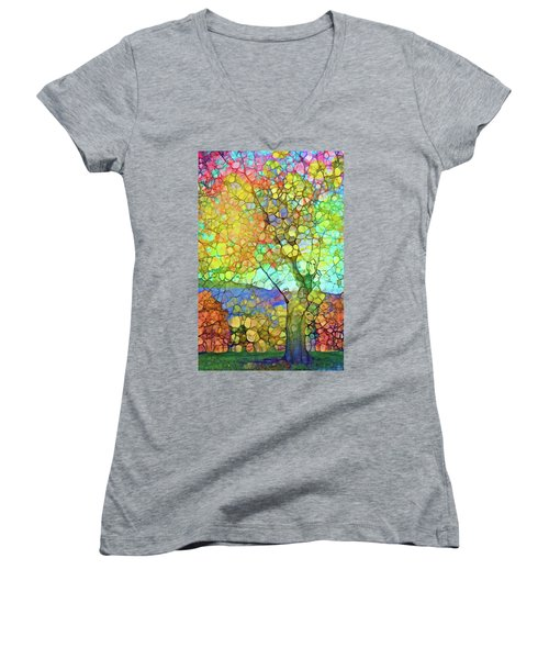 Women's V-Neck T-Shirt (Junior Cut) featuring the digital art The Contagious Laughter Of Trees by Tara Turner