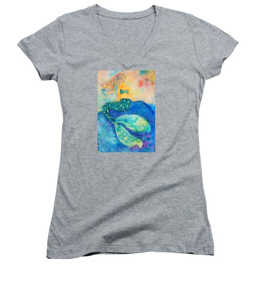 The Contemplation Of A Mermaid Women's V-Neck T-Shirt (Junior Cut) by Ann Michelle Swadener